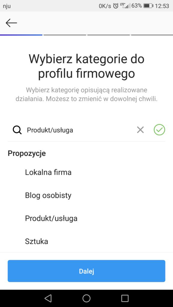 Kategorie profilu firmowego na Instagramie
