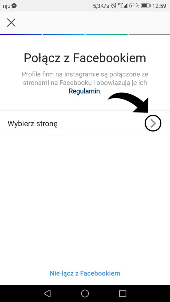 Konto firmowe na Instagramie połączone z Facebookiem
